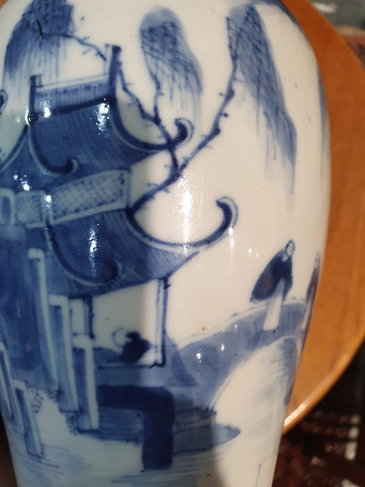 Chinese blue and white vaseof baluster form decorated with pagodas and lake scene, within a - Image 19 of 22