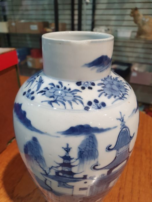 Chinese blue and white vaseof baluster form decorated with pagodas and lake scene, within a - Image 11 of 22