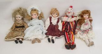Quantity of modern collectors dollswith porcelain heads
