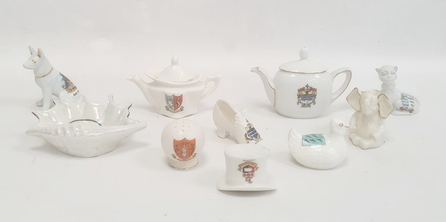 Quantity of crested ware china including a Florentine china model of a chicken bearing the arms
