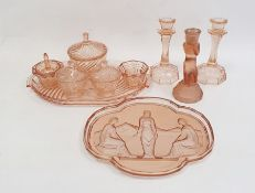 Art Deco glass dressing table set, possibly Sowerby, an Art Deco glass tray intagliodecorated