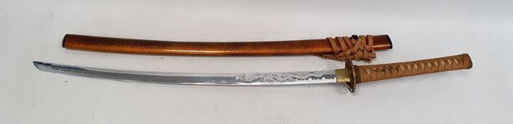 Modern Japanese Katana sword with shagreen-effect hilt, the tsuba with pierced dragon decoration,