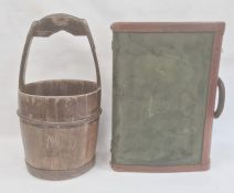Leather bound canvas case and an old wooden pail with iron mounts (2)