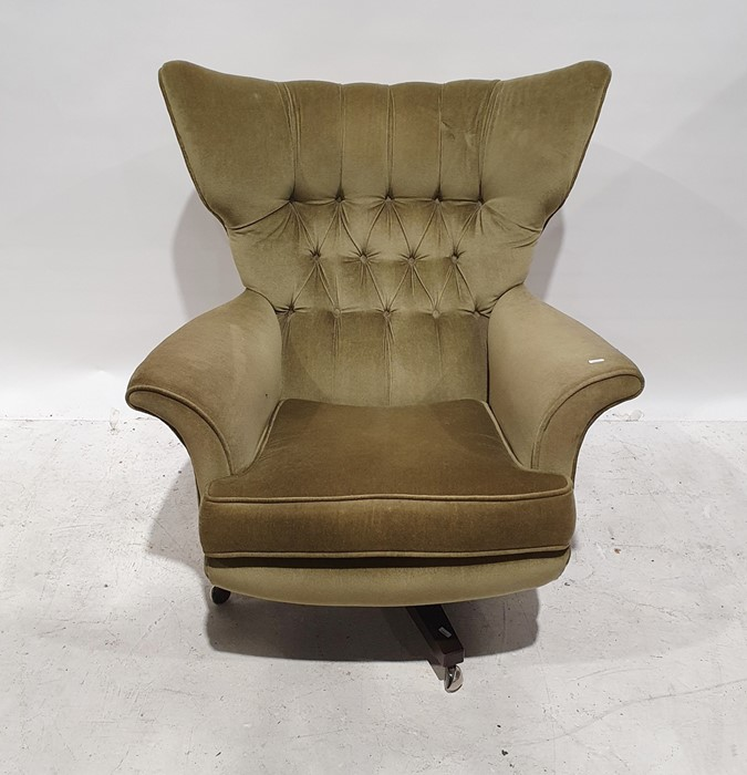 Parker Knoll-style office reception swivel chairwith green wing back, swivel base