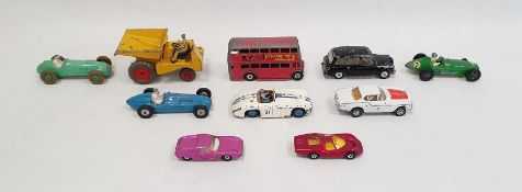 Quantity of diecast model vehicles including a Dinky Toys bus, a Crescent Toy Company Limited BRM