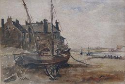 British School - early 20th century Set of three watercolours Landscape scene, a village scene and a