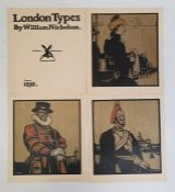 William Nicholson The title page and 12 coloured lithographs from London Types 1898, unframed