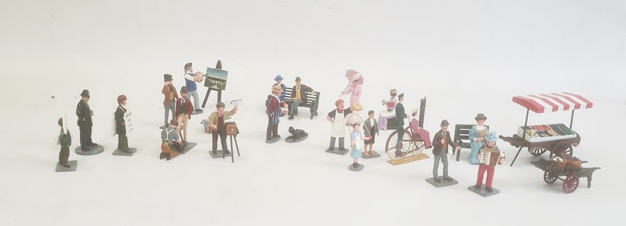 Small collection of TM painted metal model figuresof Victorian life, to include artist and easel,