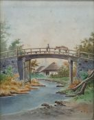 Chinese school - early 20th century Watercolour Man with donkey on a bridge, signed with monogram
