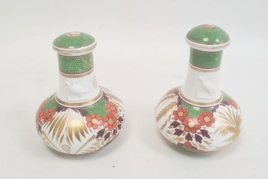 Pair of Spode bottles and covers circa. 1820, the necks with moulded decoration of a bird and the - Image 2 of 5