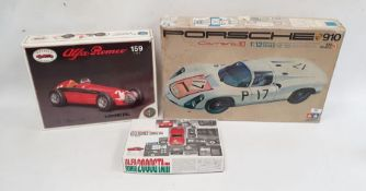 Assorted model kit carsto include Tamiya, Porsche 910, Carrera 10, 1:12 identical scale and two