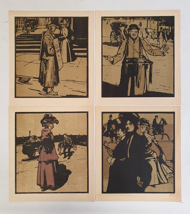 William Nicholson The title page and 12 coloured lithographs from London Types 1898, unframed - Image 2 of 4