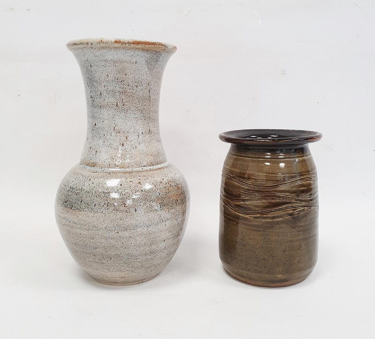 Studio pottery baluster shaped vase with impress potter's mark to base (24cm) together with a studio