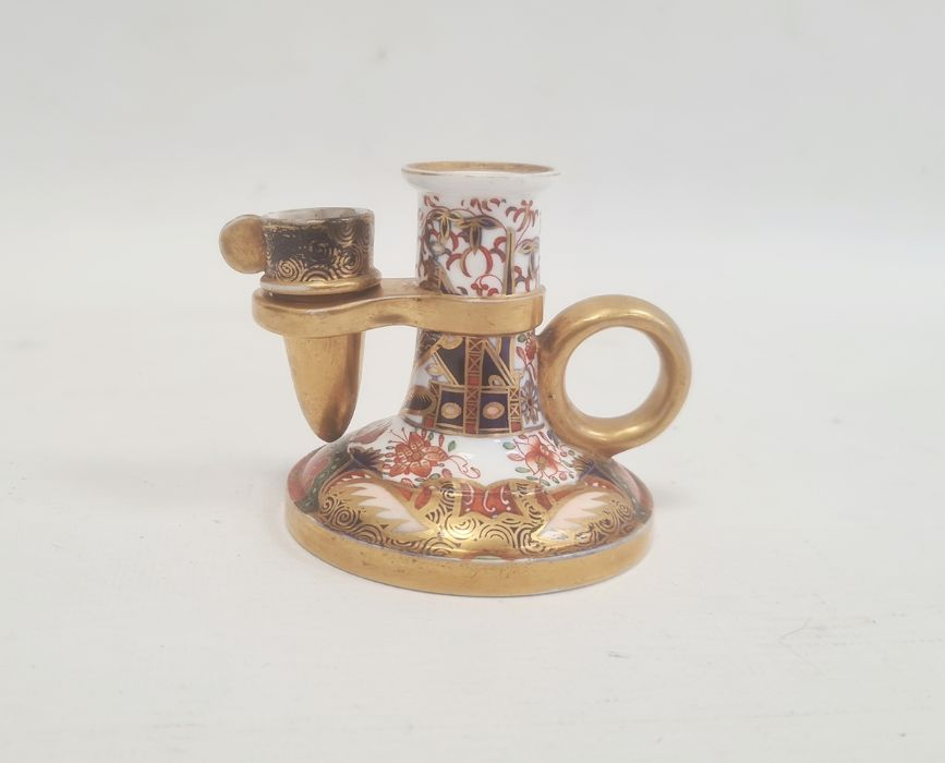Spode chamberstick with snuffer circa. 1820, decorated in the Imari palette with cylindrical