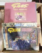Quantity of Giles cartoons to include two Collector's editions (1 box)