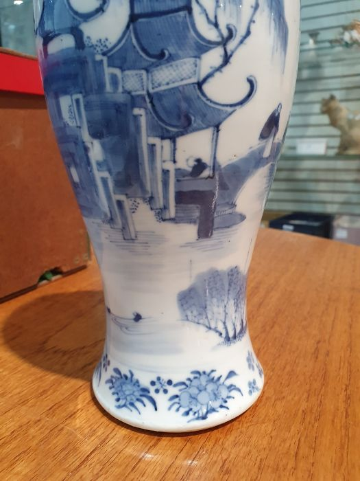 Chinese blue and white vaseof baluster form decorated with pagodas and lake scene, within a - Image 14 of 22