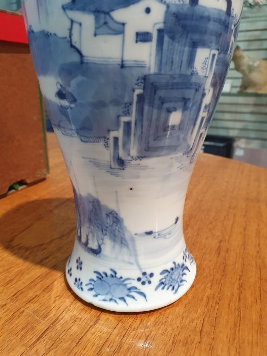 Chinese blue and white vaseof baluster form decorated with pagodas and lake scene, within a - Image 12 of 22