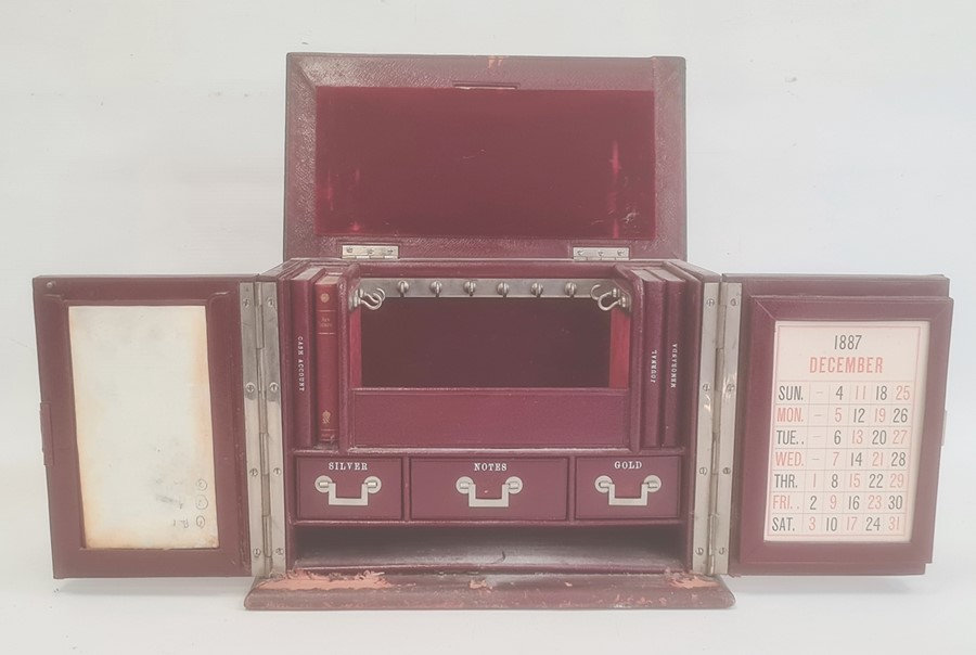 Victorian red leather travelling stationery case, the hinged cover and front revealing fitted - Image 2 of 4