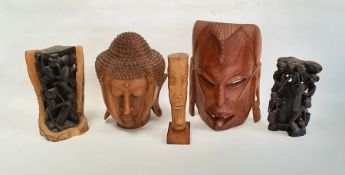 Carved wooden Buddha head, 28cm high, another carved wood mask and three other items (5)