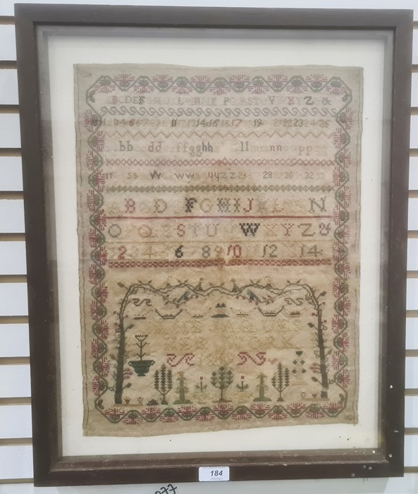 Early 19th century needlework samplerby Jane Jaques 1819, decorated with numbers and alphabets with - Image 2 of 2