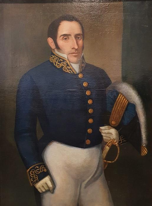 British School - 19th century Oil on canvas Three-quarter length portrait of a gentleman in naval