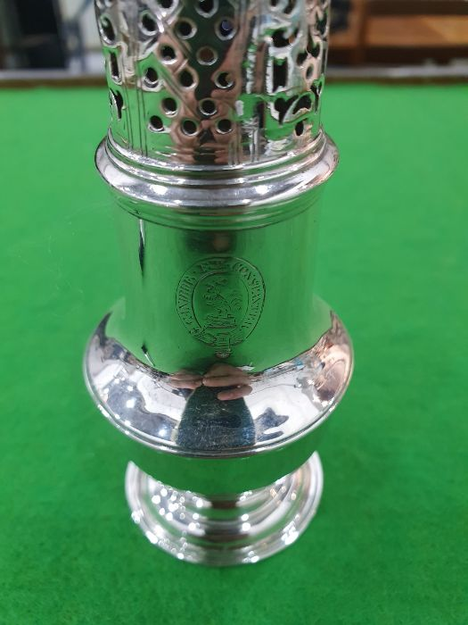George II silver casterby Samuel Wood, London 1736 of baluster form with pierced cover and later - Image 5 of 13