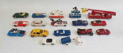 Two boxes of assorted cars and planesto include Corgi Toys Automobile Super 88, Corgi Toys