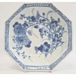 Antique Japanese blue and white octagonal bowlwith chrysanthemum decoration, 24cm wide, a late 20th