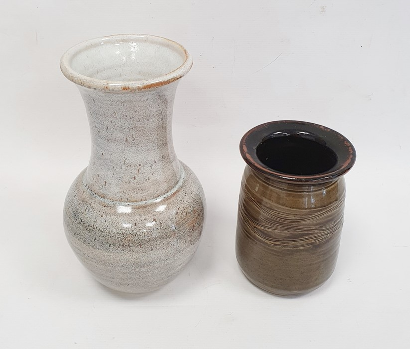 Studio pottery baluster shaped vase with impress potter's mark to base (24cm) together with a studio - Image 2 of 7