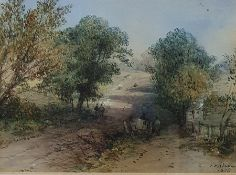 British School, 19th century Watercolour Cart on a rural track with figures, signed indistinctly