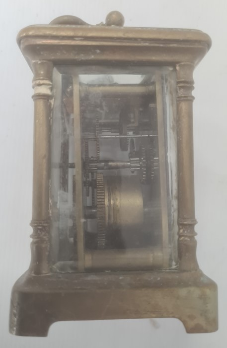 Brass and glass carriage clockwith Roman numerals to the dial - Image 9 of 10