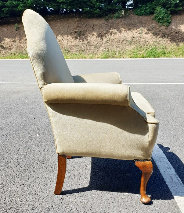 Perhaps 1930's armchair, the shaped back in green velour upholstery, on cabriole legs - Image 2 of 2
