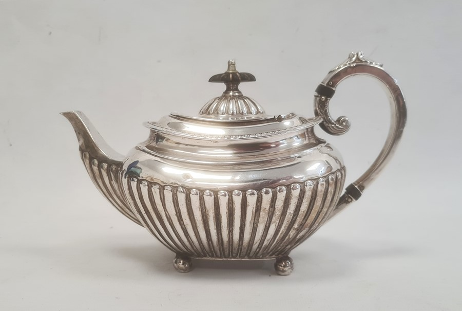 Victorian silver teapot by James Dixon & Sons Ltd, Sheffield 1891, of shaped oval form with