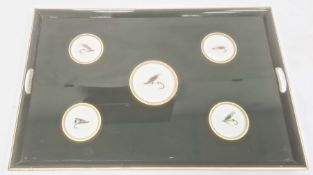 Green and gilt painted two handled wooden tray inset with five fishing flies under the glass base,