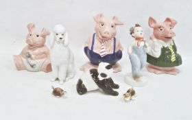 Collection of ceramic figuresincluding Royal Dux, USSR (Lomonosov) and Wade Nat West pig money