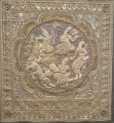 Large Eastern embroidered panel, the central roundel with raised seated figures and leopard,