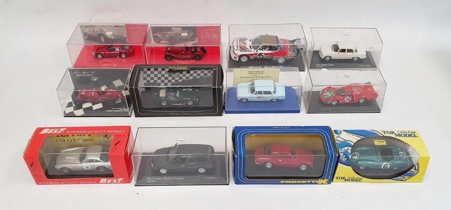 Box of assorted carsto include Minichamps Alfa Romeo Giulia, Minichamps model of a 7l Griffin, - Image 2 of 2
