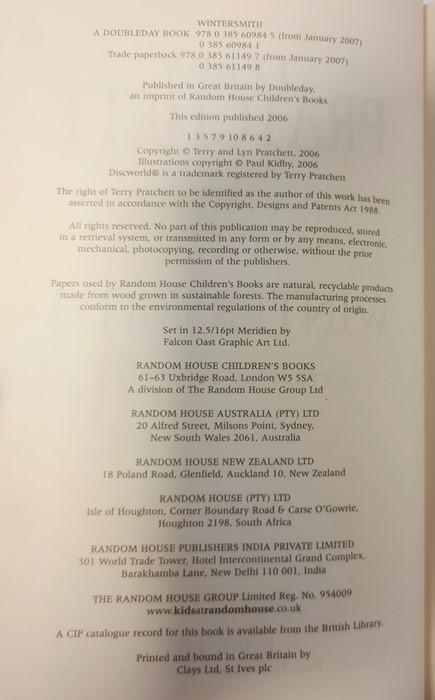 "Pratchett, Terry ""Nation"" (2 copies), ""Wintersmith"", ""I Shall Wear Midnight"", ""A Hatful of Sky"", "" - Image 8 of 21"