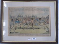 """Boxing interest: 19th century school Coloured engraving """"The Great Match between Randal and"""