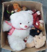 Six boxes of assorted toys and games including soft toys, remote control cars, dolls, etc