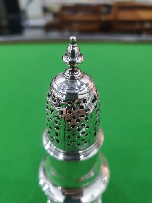 George II silver casterby Samuel Wood, London 1736 of baluster form with pierced cover and later - Image 7 of 13
