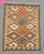 Small Maimana kilim rug in browns and greens etc., 81cm x 64cm.