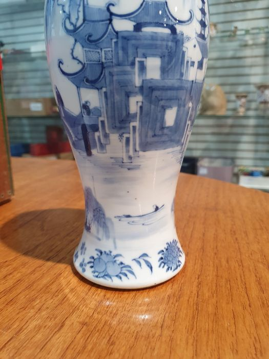 Chinese blue and white vaseof baluster form decorated with pagodas and lake scene, within a - Image 8 of 22
