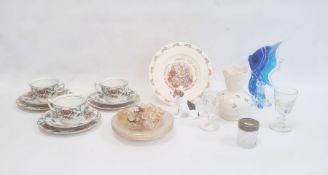 Royal Doulton model dog, Belleek porcelain vase, Shelley vase, Bunnykins plate, Murano-style fish