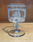19th century Sunderland Bridge glass rummer, the bowl engraved with a titled scene of a sailing boat