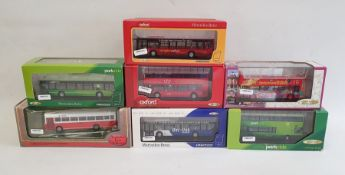Box of assorted mainly model carsto include Oxford Park Ride double decker buses, other buses,a
