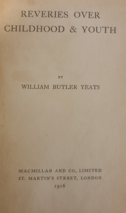 """Yeats W B """" Reveries Over Childhood and Youth"""" MacMillan and Co. 1916, col plates tipped - Image 9 of 35"""
