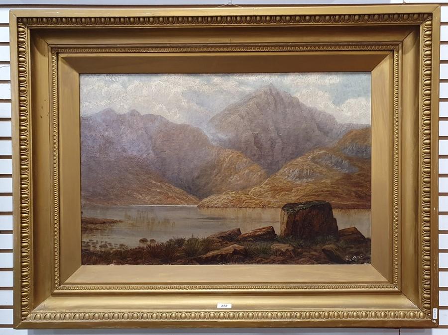 G E Lowe - British 19th century Oil on canvas Mountainous lake scene, 49.5 x 75cm - Image 2 of 3