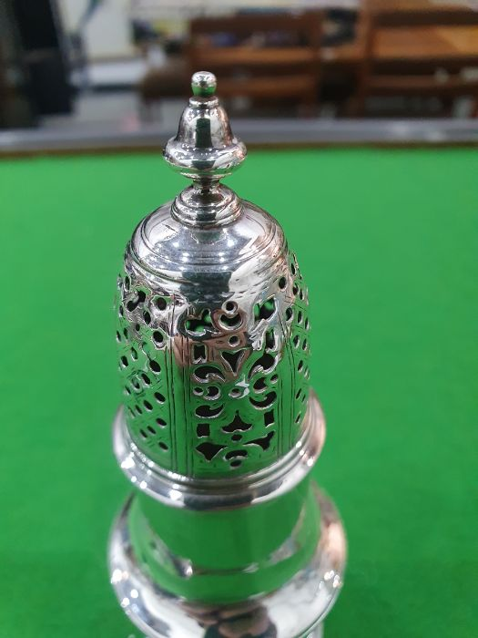 George II silver casterby Samuel Wood, London 1736 of baluster form with pierced cover and later - Image 6 of 13