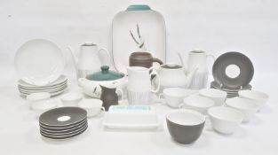 Mid century Swiss porcelain part breakfast service comprising teapot (crack to handle), coffee